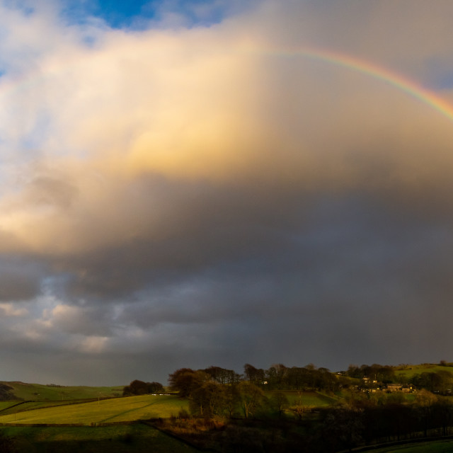 """Rainbow Over Rainow Panorama"" stock image"