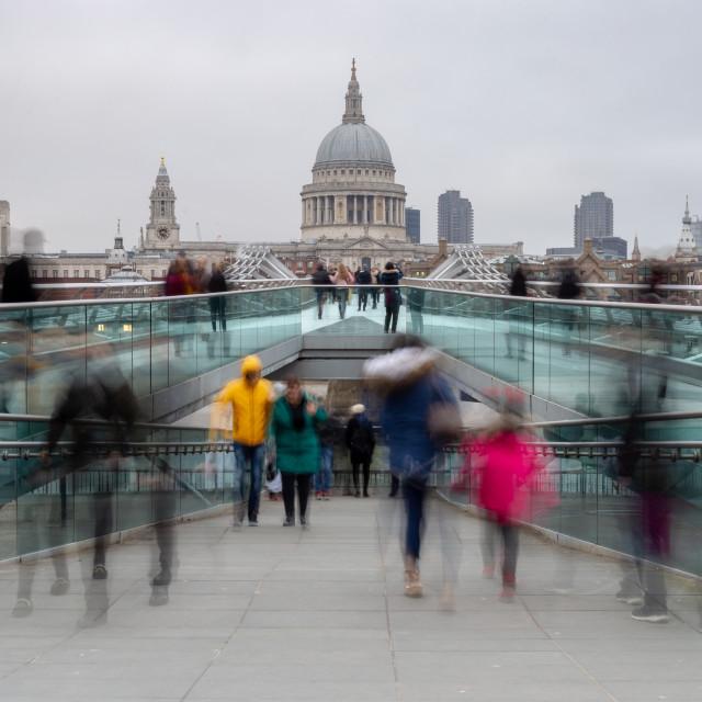 """Ghosts on Millennium Bridge, London"" stock image"