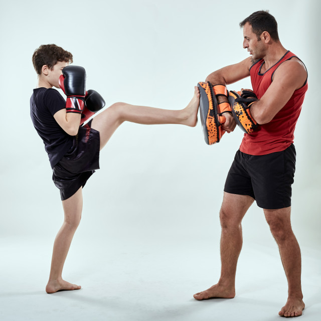 """""""Kickboxer kid and his coach"""" stock image"""