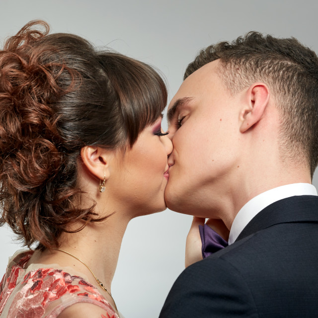 """Gorgeous couple kissing"" stock image"