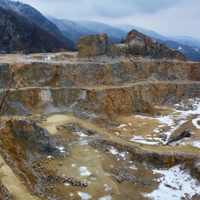 """Limestone quarry, bird eye view"" stock image"