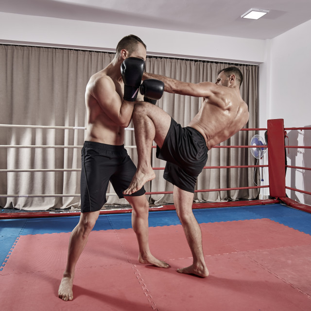 """""""Kickboxers sparring in the ring"""" stock image"""