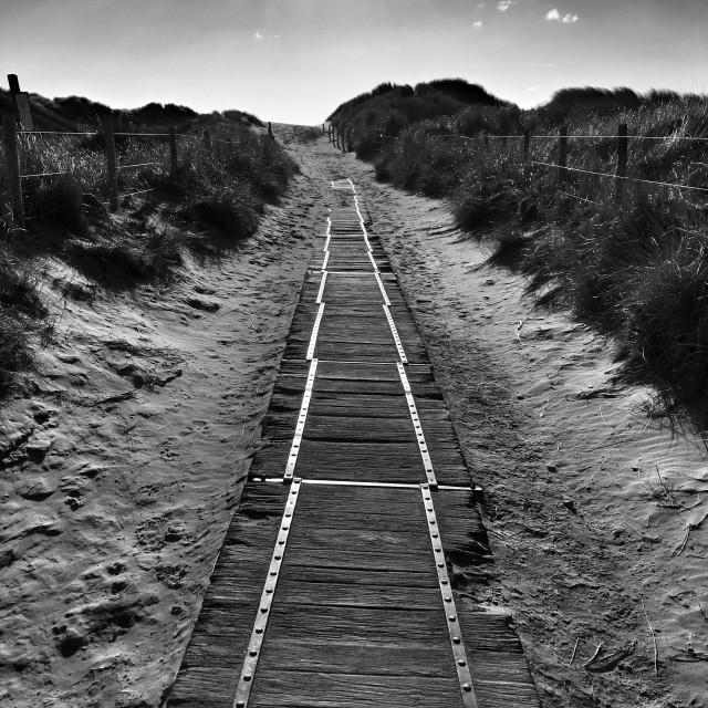 """Path to Harlech Beach"" stock image"