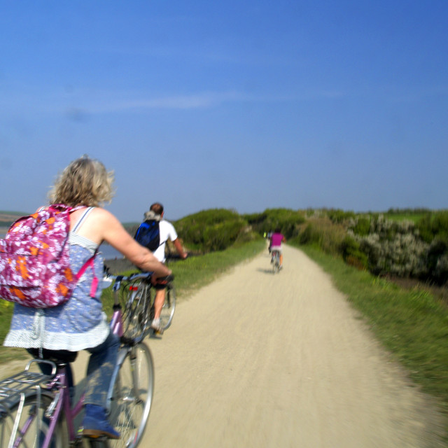 """""""On Our Bikes"""" stock image"""