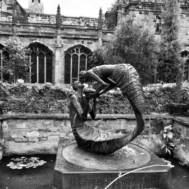 """""""The Cloister Gardens sculpture, Chester Cathedral."""" stock image"""