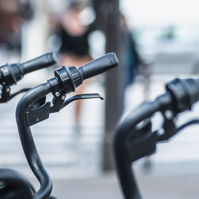 """""""Bike Handles all in a row"""" stock image"""