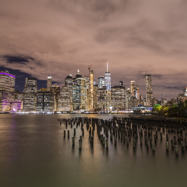 """Brooklyn Bridge Park and Downtown Manhattan at night"" stock image"