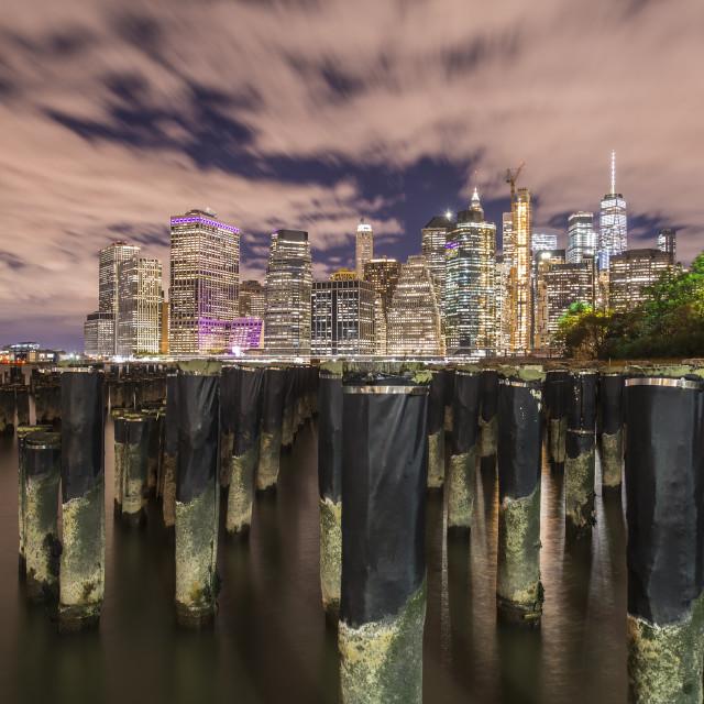 """Brooklyn Bridge Park and Downtown Manhattan at night"" stock image"