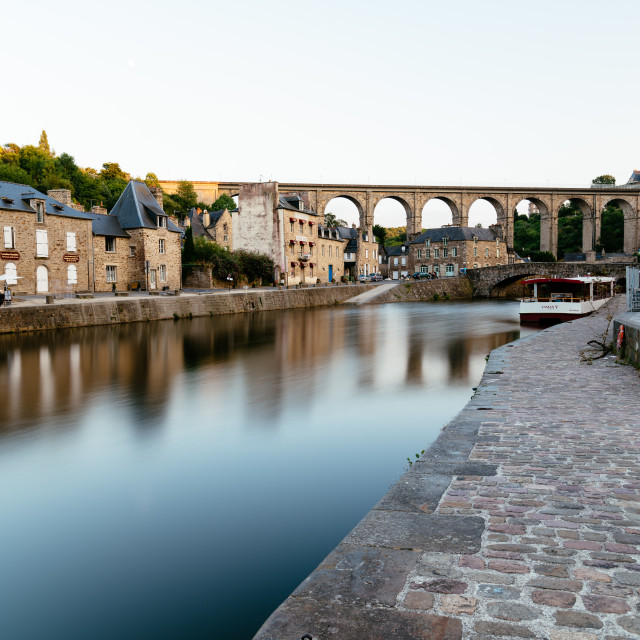 """View of the habour of the city of Dinan"" stock image"