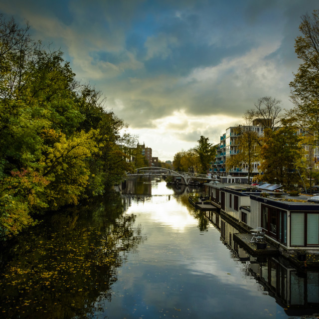 """Amsterdam Canal Sunset"" stock image"