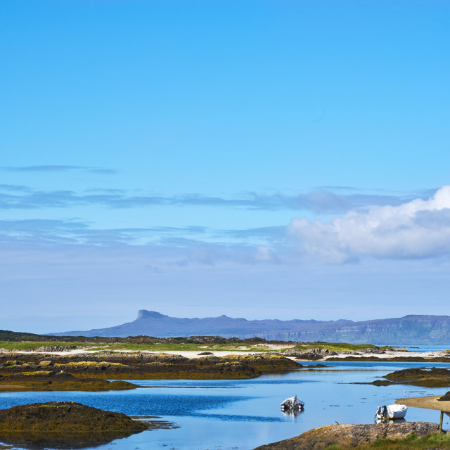 """View from Invercambie to the inner Hebridien island of Eigg"" stock image"