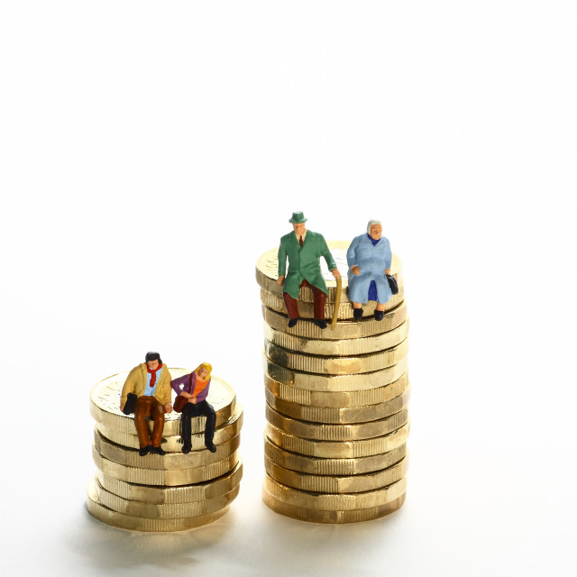 """""""Conceptual diorama image of a miniture figure retired couple and young couple sat on a stack of pound coins"""" stock image"""