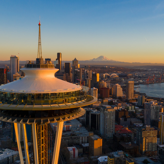 """""""Seattle Golden Hour."""" stock image"""