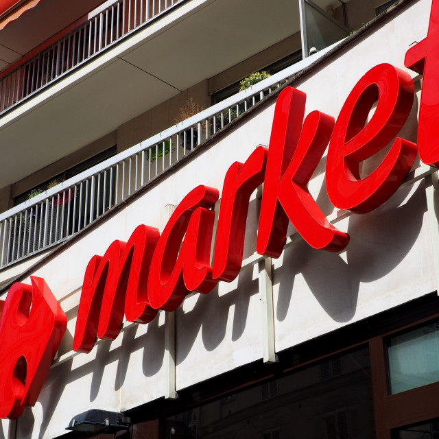 """Outdoor Carrefour market red sign"" stock image"