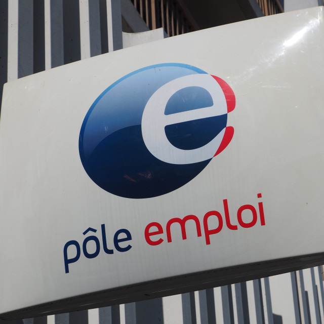 """Pole emploi sign outside a government agency"" stock image"
