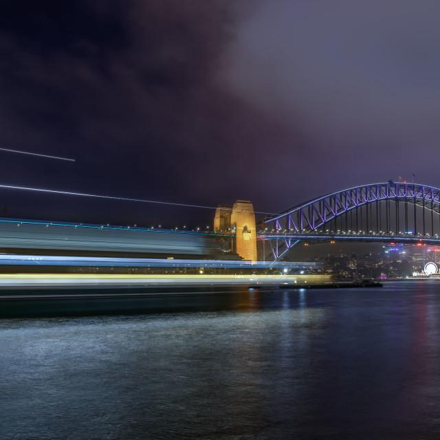 """Sydney Harbour Bridge Light Trail"" stock image"