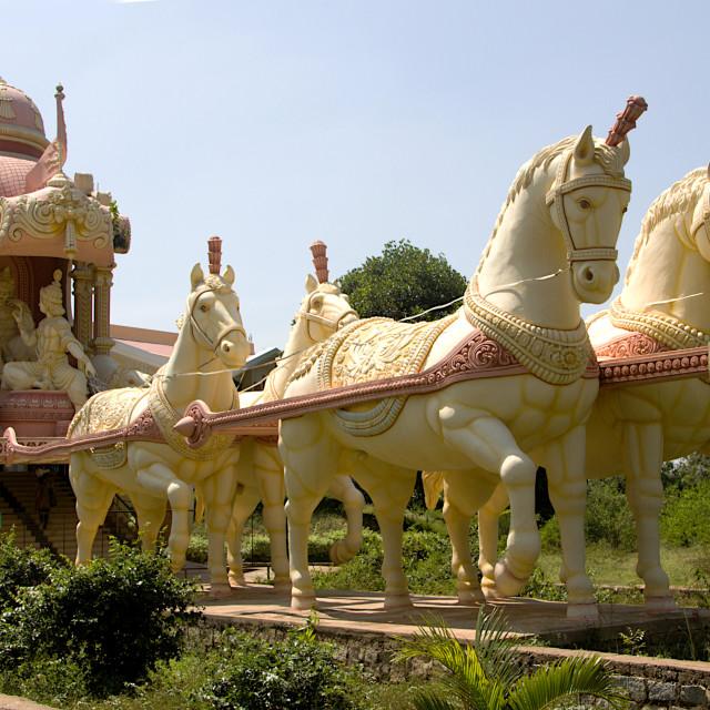 """Horses Pulling Chariot of Arjuna"" stock image"