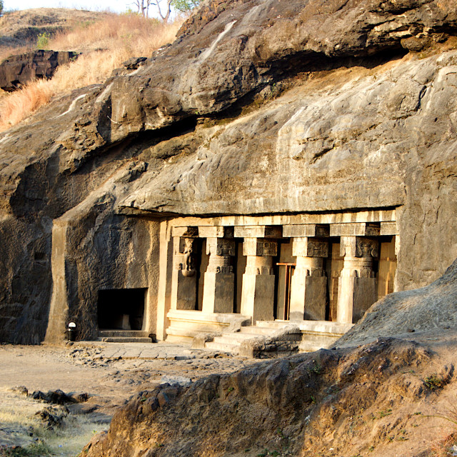 """""""Frontage of Cave Temple, Ellora"""" stock image"""