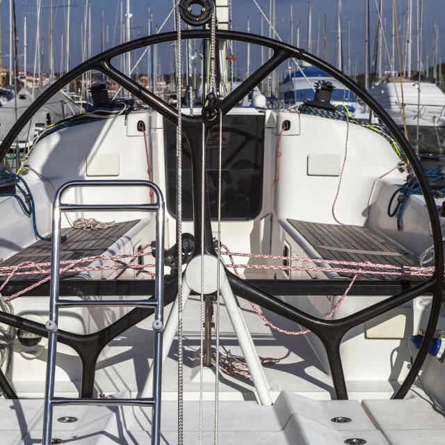"""Sailing boat helm"" stock image"