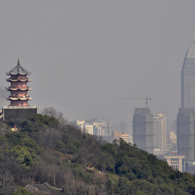 """""""Wuxi old pagoda and new city"""" stock image"""