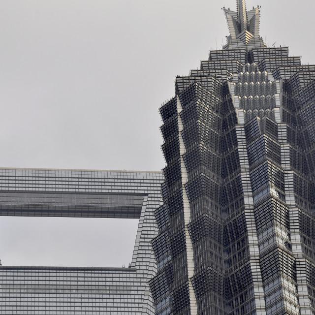 """Skyscraper tops Shanghai China"" stock image"