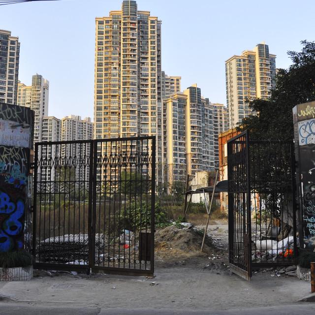 """Encroaching Skyscrapers Shanghai China"" stock image"