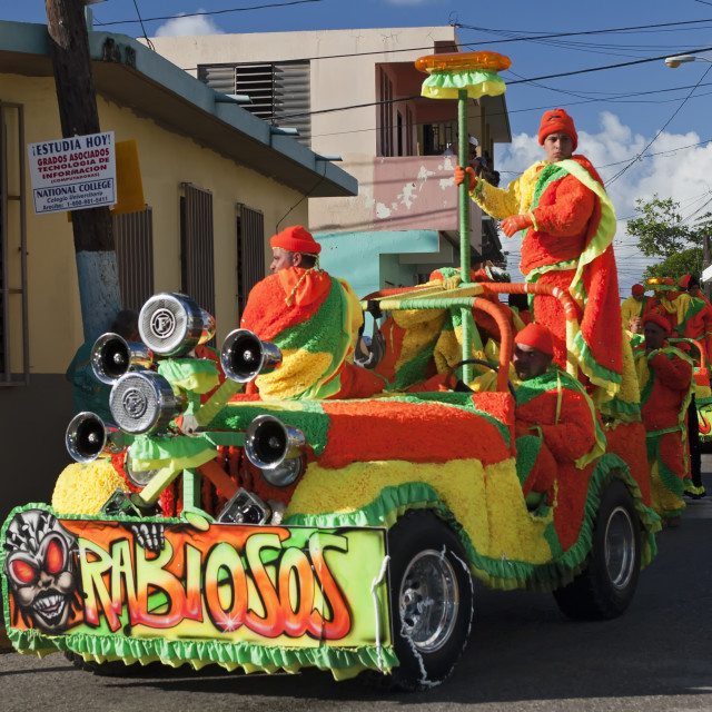 """""""Men in costume on colorful float, Hatillo Mask Festival, Puerto Rico"""" stock image"""
