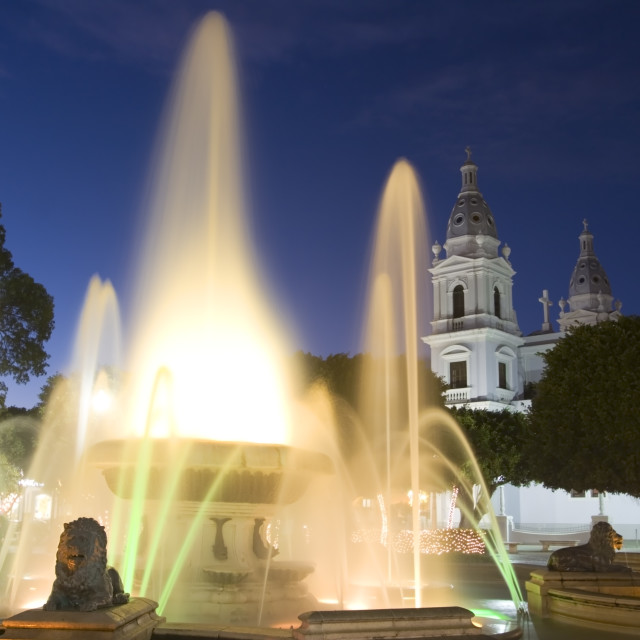 """""""Las Delicias Plaza fountain and Cathedral, Ponce, Puerto Rico"""" stock image"""