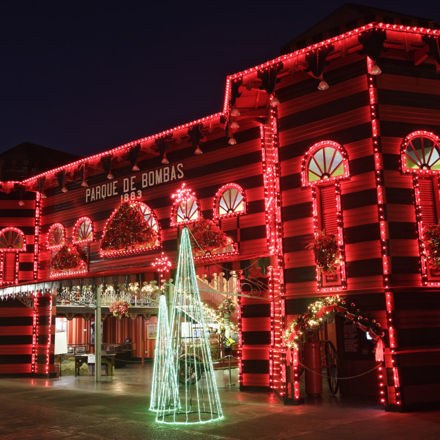 """""""Firehouse (Parque de Bombas, 1883) and Christmas lights, Ponce, Puerto Rico"""" stock image"""