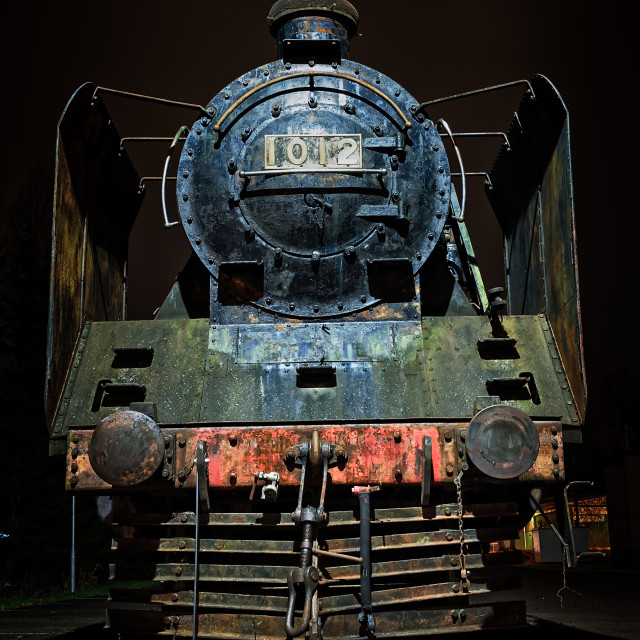 """""""Old Steam Engine By Night"""" stock image"""