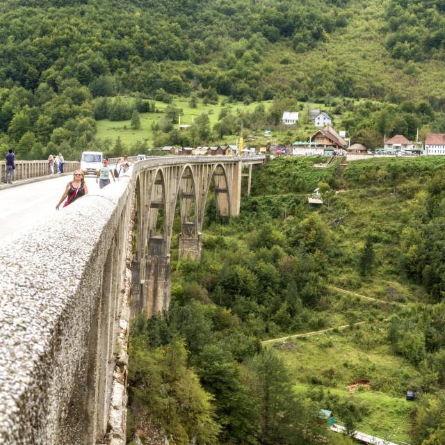 """""""People at Tara Bridge. Tara Canyon. """"Durdevica Tara Bridge"""" - concrete Tara Bridge in north Montenegro."""" stock image"""