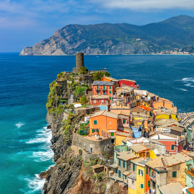 """""""Colorful town on the rocks, Vernazza, Liguria, Italy"""" stock image"""