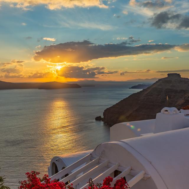"""""""Landscape of sunrise on the sea, Santorini, Greece"""" stock image"""