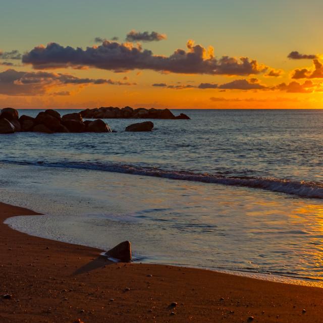 """""""Landscape of sunrise on the sea beach, Santorini, Greece"""" stock image"""