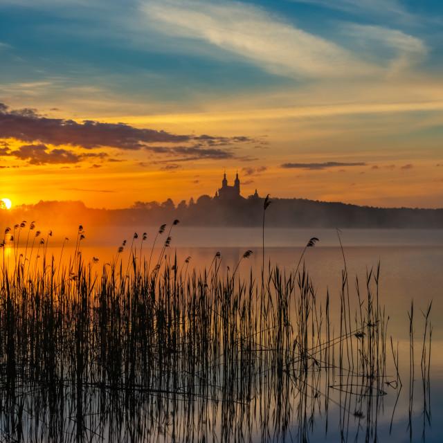 """""""Sunrise, Lake Wigry, Poland, Europe"""" stock image"""