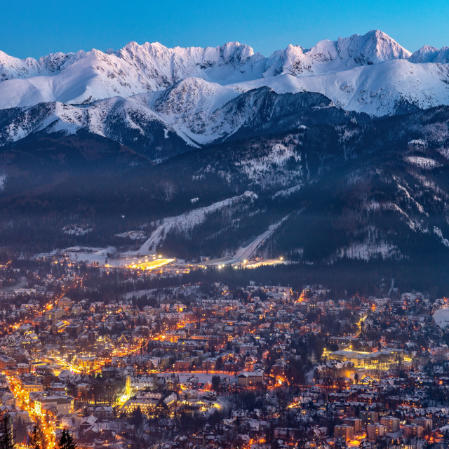 """Zakopane by night, Mountains Tatry landscape, Poland, Europe"" stock image"