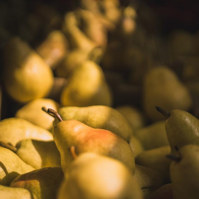 """Venetian Market Sunlit Pears"" stock image"