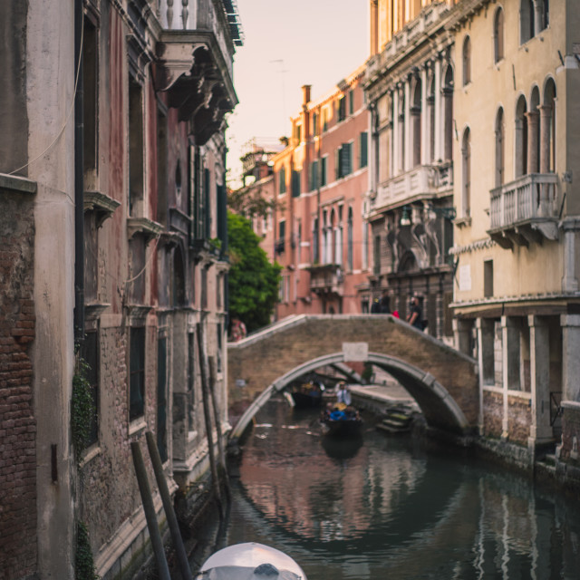"""""""Motorboat in the Shadows of the Venice Canals"""" stock image"""