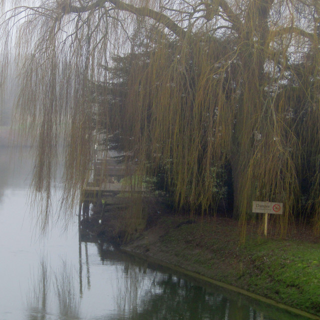 """River Thames, Oxfordshire in fog"" stock image"