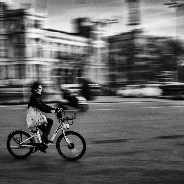 """Cyclist In Madrid"" stock image"