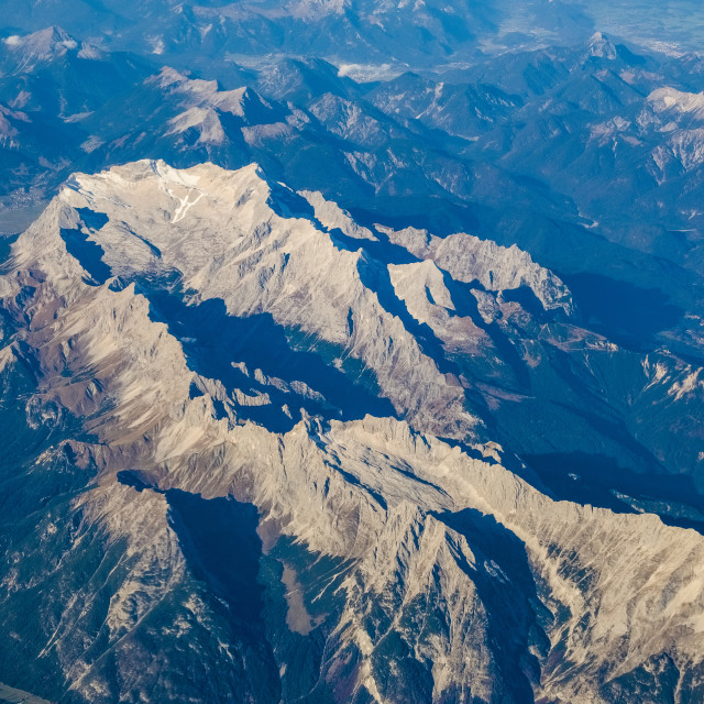 """Aerial view from an aeroplane on the highest mountain of Germany, Zugspitze"" stock image"
