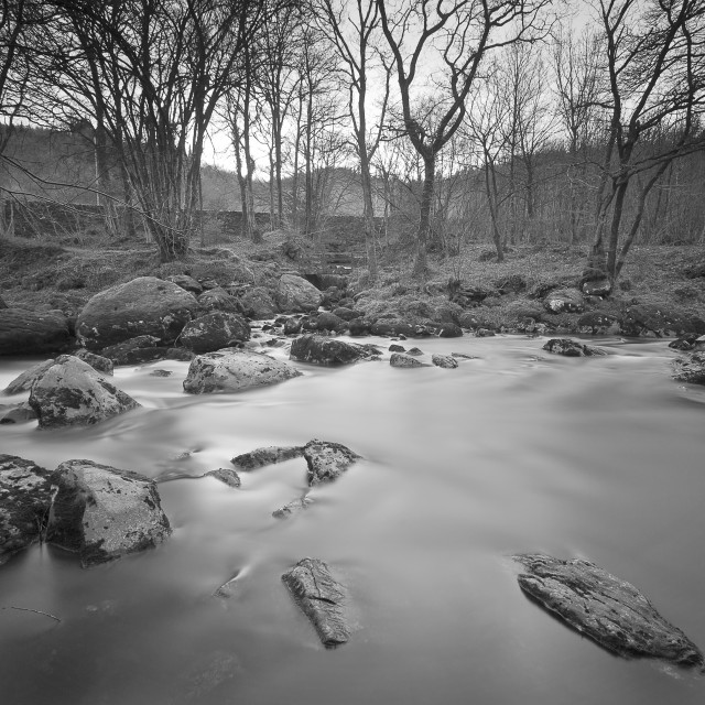 """The still waters of the Afon Conway"" stock image"