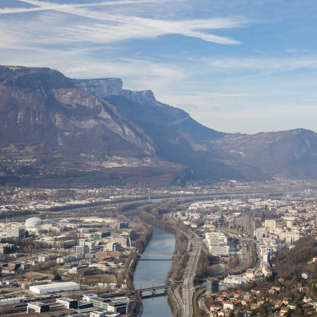 """Grenoble, France: North west with the Vercors mountains and the Isere river"" stock image"