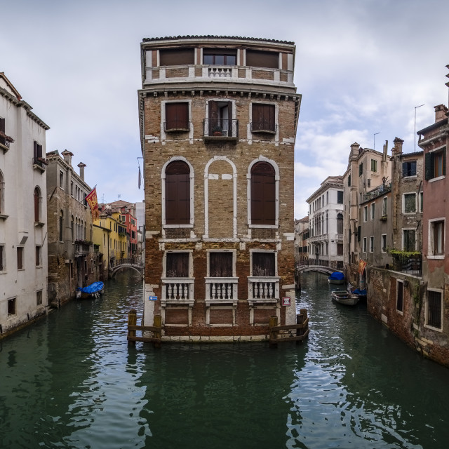 """""""Panoramic view on narrow water canals leading through the ailing brick houses of the so-called 'Floating city'"""" stock image"""