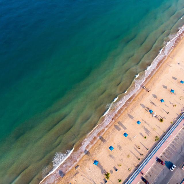 """Flamingo beach in Ras Al Khaimah, UAE aerial view"" stock image"