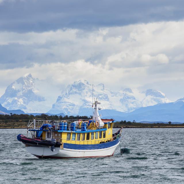 """Boat in Admiral Montt Gulf, Puerto Natales, Ultima Esperanza Province,..."" stock image"