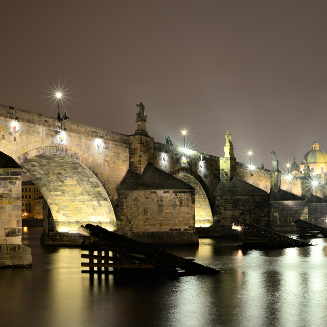 """charles bridge at night"" stock image"