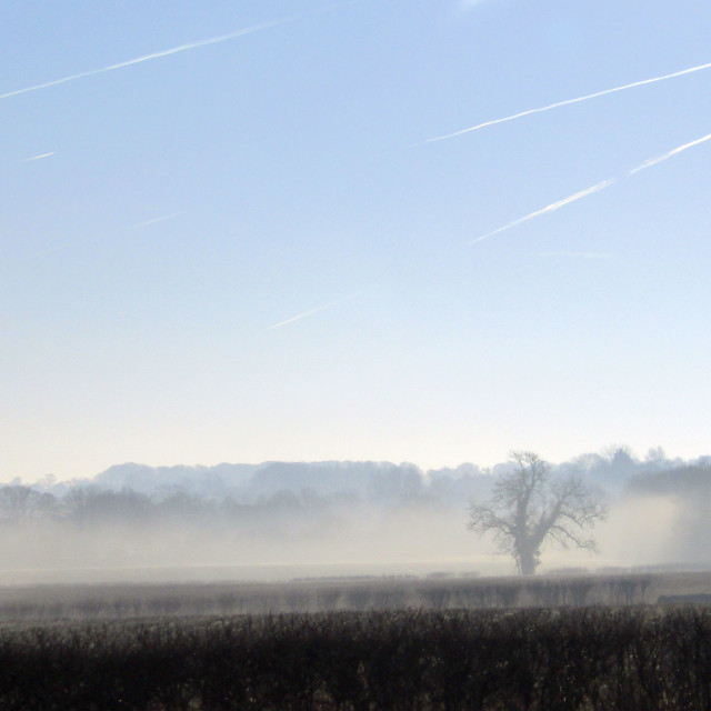 """Fog rising in Cotswolds with jet clouds"" stock image"