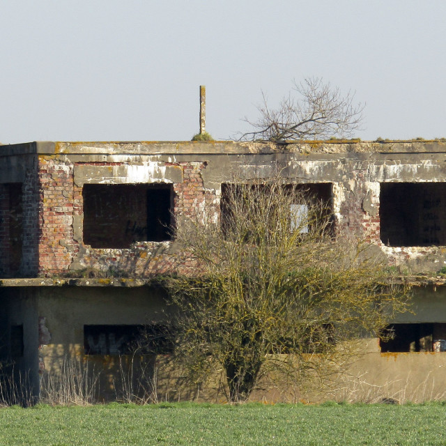 """Derelict building with 'eyes' in Oxfordshire"" stock image"