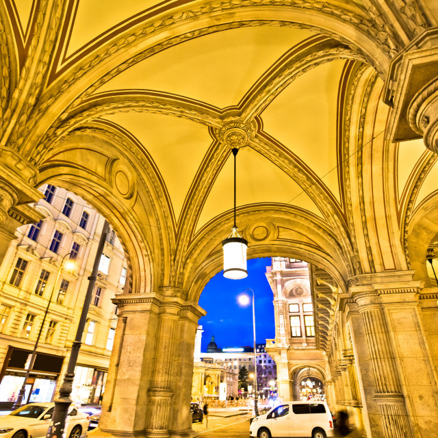 """""""Vienna state Opera house arcades and evening street view"""" stock image"""